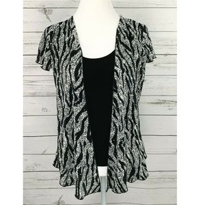 Brittany Black Silver Layered Short Sleeve Top